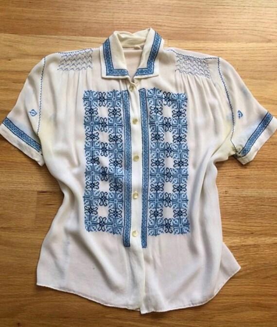 Cotton daisy chain crochet blouse - image 2