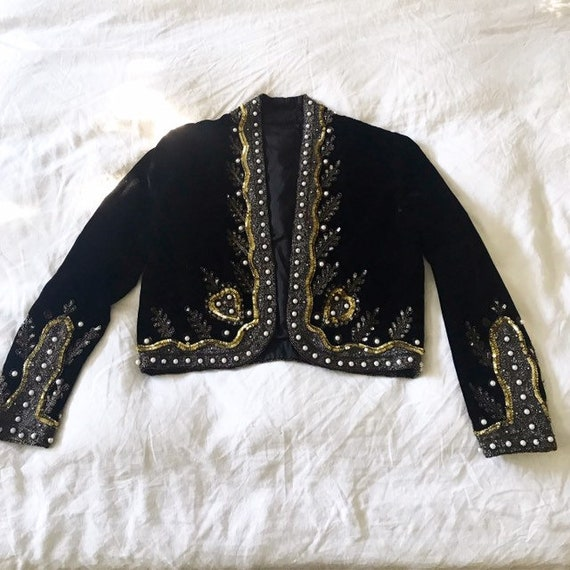 Hand beaded silk velvet statement jacket