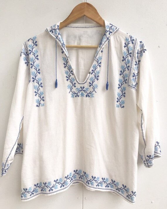 Romanian  folk embroidered  cotton  blouse