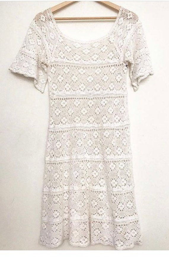 1970s crochet lace mexican wedding dress