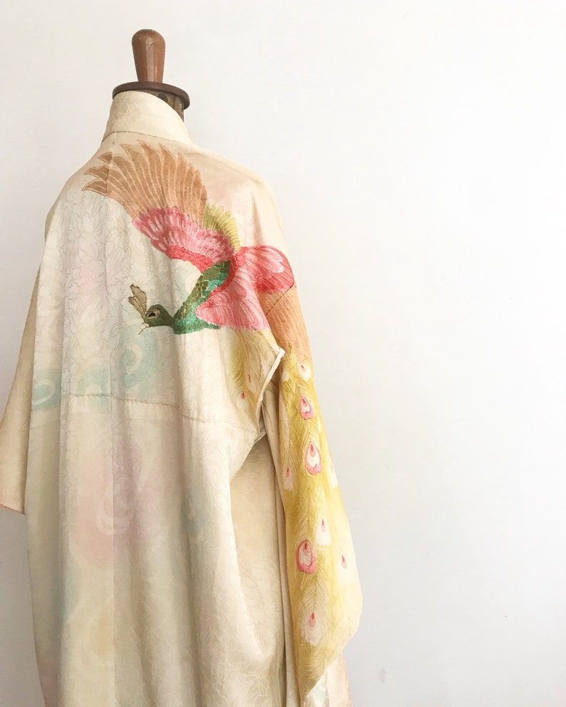 428689d59a2153 Sale Antique silk embroidered brocade 1920s pongee kimono
