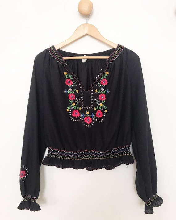 Hungarian  folk embroidered smocked peasant  blous