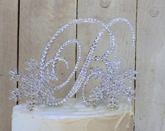 Snowflake Wedding Cake Toppers Winter Initial Monogram