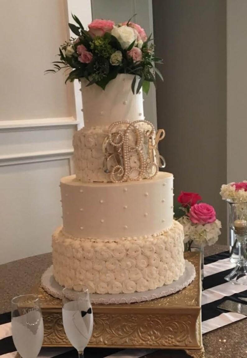 Pearl Monogram Wedding Cake Topper Initial Pearl Cake Topper Pearl Letters Cake Topper Shabby Vintage Wedding Cakes Romantic Wedding