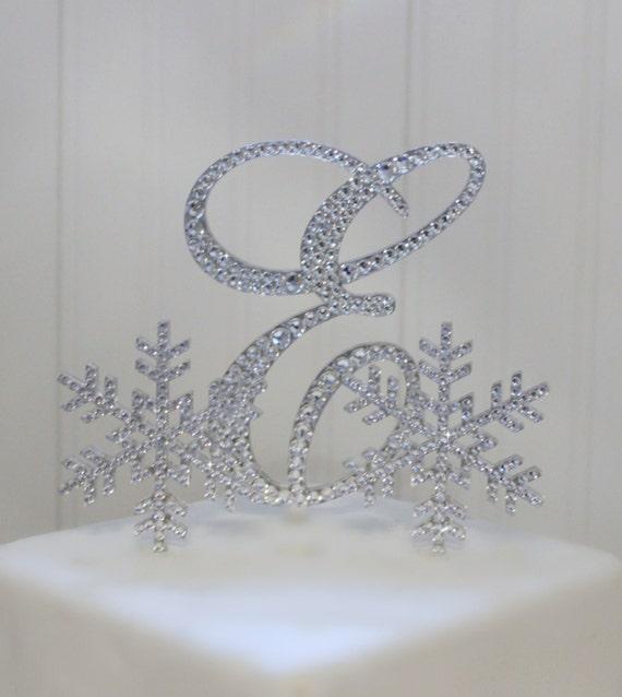 Snowflake Winter Wedding Cake Topper 6 Initial | Etsy