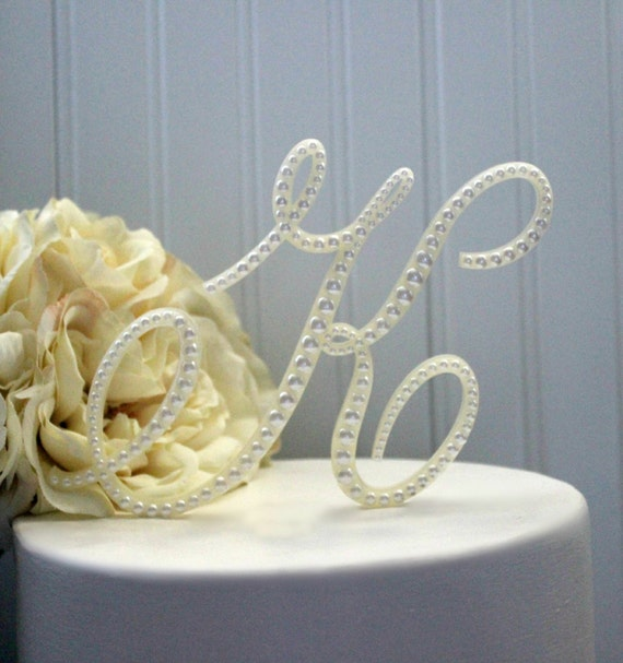 Vintage Monogram Wedding Cake Toppers