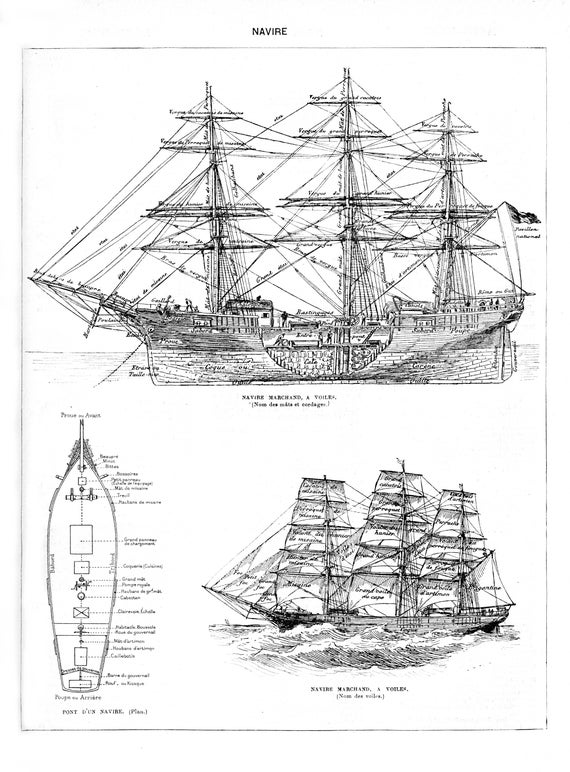 Vintage Ink Plate French Ship Boat Diagram Ocean Voyage Marine Etsy
