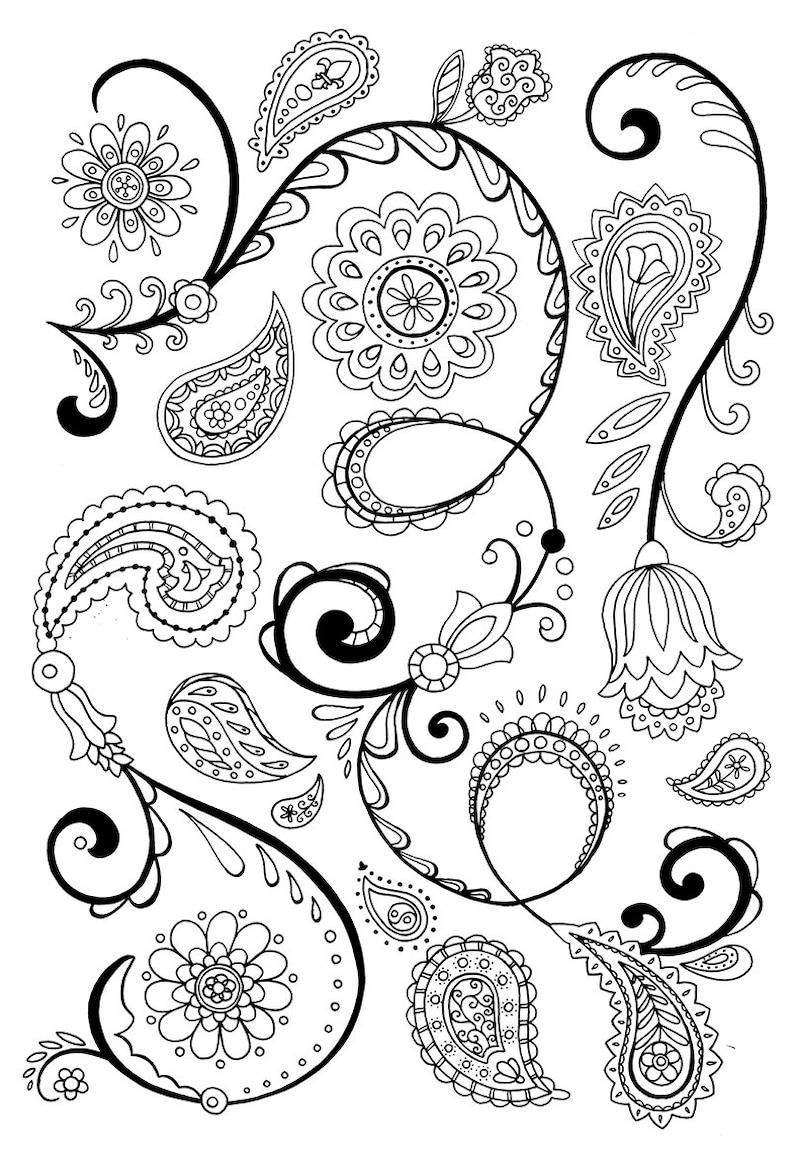 Coloriage Fleur Hippie.Motif Paisley Boheme Et Fleur Pour Les Hipsters Hippies Et Etsy