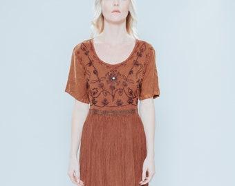5510dd74aea Vintage Rust Ethnic Boho Dress