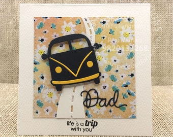 Fathers day card with Volkswagen bus, cards for men,cards for dad, madeinindia,handmadecards, funnycards