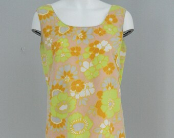 Vintage 1970s Sleeveless Lime Green and Yellow Floral Dress Size Small