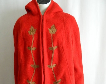 Vintage Bright Red Woman's Wool Hooded Subzero Coat with Bison Size 16