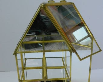 Retro Mirror and Brass Mirrored House Shaped Curio Display