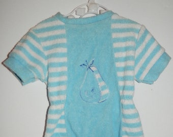 Retro 1970s Blue and White Terrycloth Infant Short Sleeve Pear Jumper Size 0 - 3 months