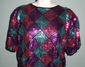 Retro 1970s Bright Multi Coloured Ladies Sequin Shirt Size Large