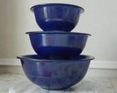 Awesome Vintage Pyrex Corning Indigo Blue Nesting Bowls No 322 323 325