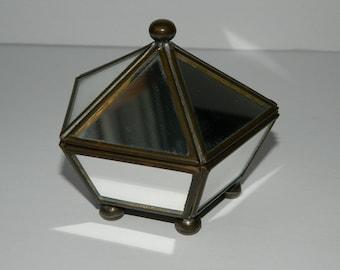 Vintage Mirror Pentagon Jewelry  Displa and Trinket Case