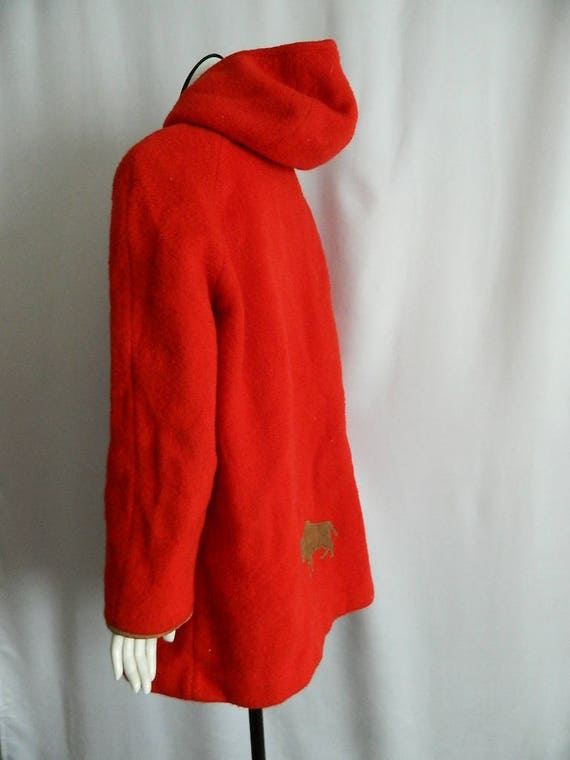 Coat Red Woman's with Bison Size Bright Wool Vintage Hooded Subzero 16 7Yq1n5w