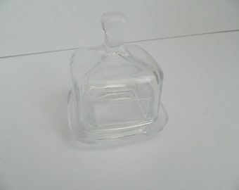 Retro Small Square Clear Lidded Glass Dish