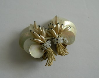Vintage 1950s Shell Clip Ons Made in France