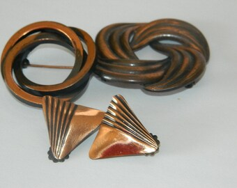 Set of Bronze Clip on Earrings and 2 Brooches