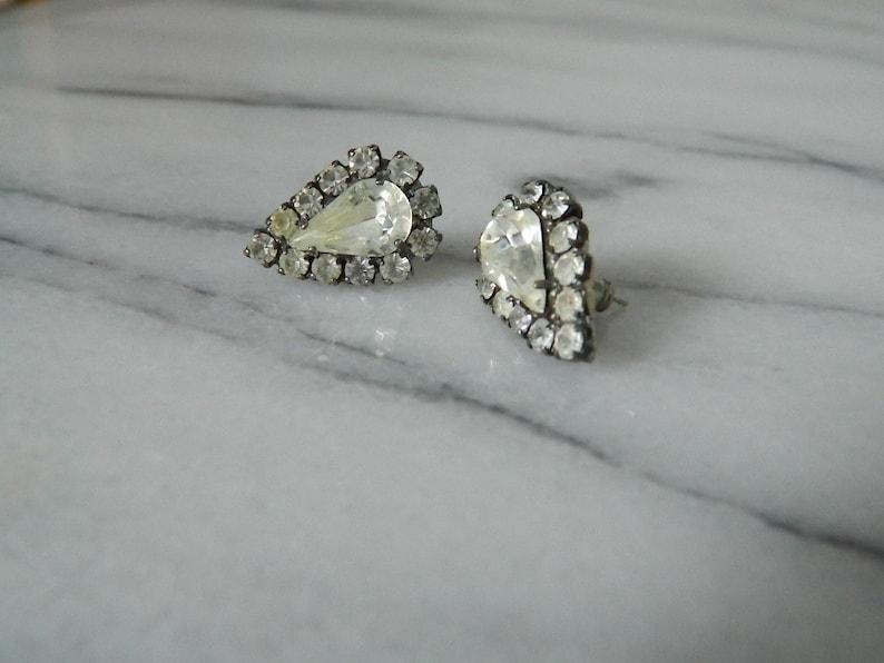 Retro 1980s White Rhinestone Stud Earrings