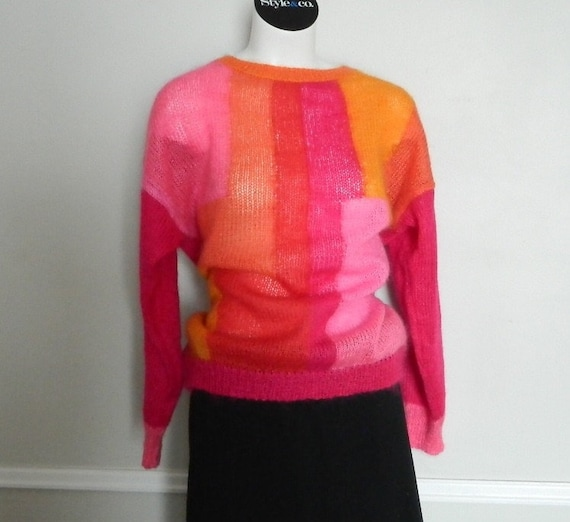 Vintage 80s Pink and Orange Renee Tener for Jeanne