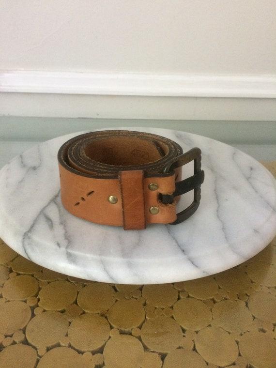 Retro 1980s Wide Tan Leather Belt Size Medium - image 1