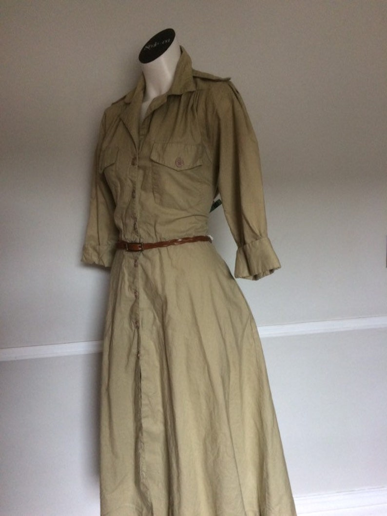 Retro Traditions Sears Khaki Long Sleeve Dress Size 10 Made in Hong Kong