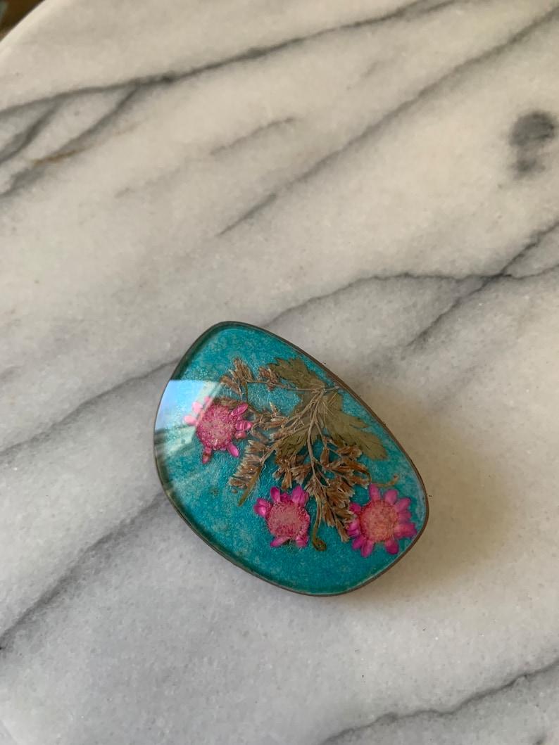 Handmade Pressed Pink Flower Brooch