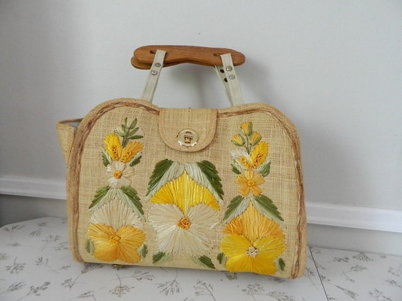Vintage 1960s Raffia Hand Bag by Bags by Whidby, I