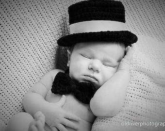 Crochet PATTERN - Baby Top Hat with BONUS Bow-Tie! **PDF Pattern**