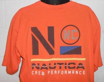 6311aceed48be Vintage 90s Orange Nautica Crew Performance T-Shirt Size XL