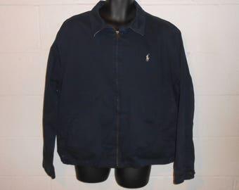 Vintage Ralph Lauren Polo Navy Blue Cotton Jacket Coat XL
