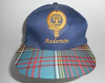 Vintage Anderson Scotland Crest Plaid Brim Adjustable Cap Hat 2d22691b86b1