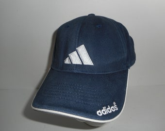 52a3e171 Vintage 90s Blue Adidas 3 Stripe Baseball Adjustable Hat Cap