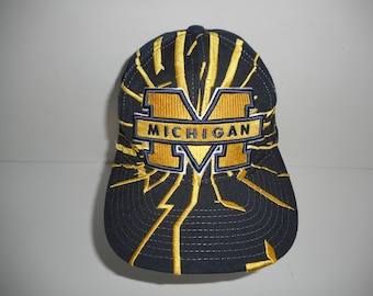 finest selection 51039 6af28 Vintage 90s Starter Shatter Collision Michigan Wolverines Snapback Cap Hat