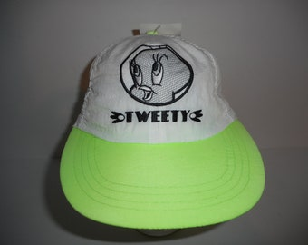 Vintage 90s Neon Green Looney Tunes Tweety Bird Cap Hat NWT f44644afb356
