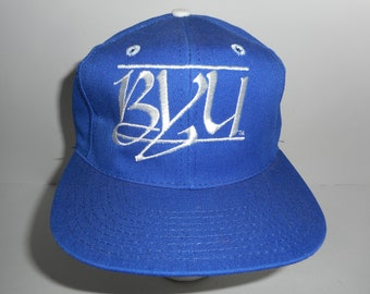 Vintage 80s The Game Glued Tag Script Bar BYU Cougars Snapback Hat Cap 897569e76c29