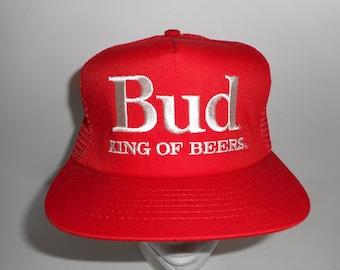 Vintage 80s Swingster Budweiser Bud King of Beers Trucker Snapback Hat Cap 2c538ae93889