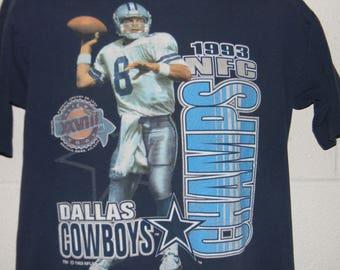 Vintage 90s 1993 Dallas Cowboys Troy Aikman T-Shirt Medium da41dbbcf