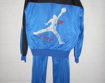 7c98a748ff93 Vintage 80s Nike Air Jordan Flight True Blue Bootleg Jacket Pant Tracksuit  XL