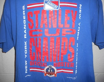 Vintage 90s Nutmeg 1994 New York Rangers Stanley Cup Champs Roster T-Shirt  XL 58551fb6a