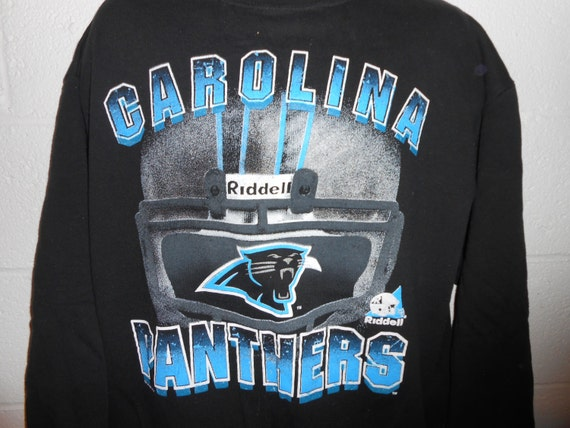 the best attitude 0df66 239e3 Vintage Riddell Carolina Panthers Big Helmet Crewneck Sweatshirt Sz XL