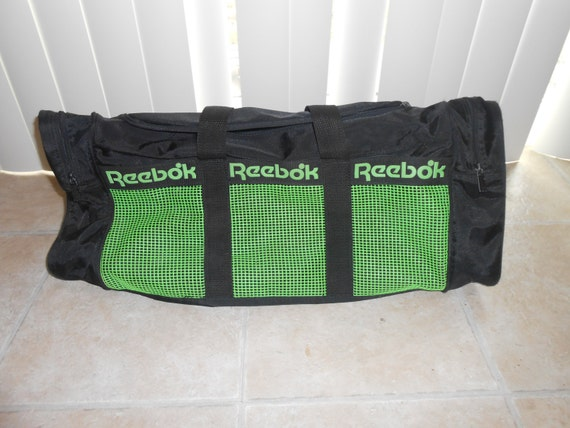 344f3eed60f5 Vintage 90s Neon Green Black Reebok Canvas Duffle Bag 12x24x10