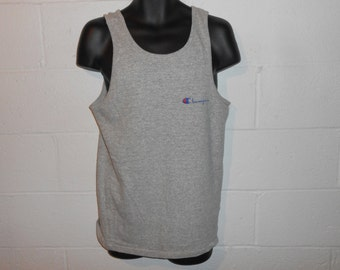 Vintage 80s 90s Rayon Blend Heather Gray Spell Out Champion Tank Top