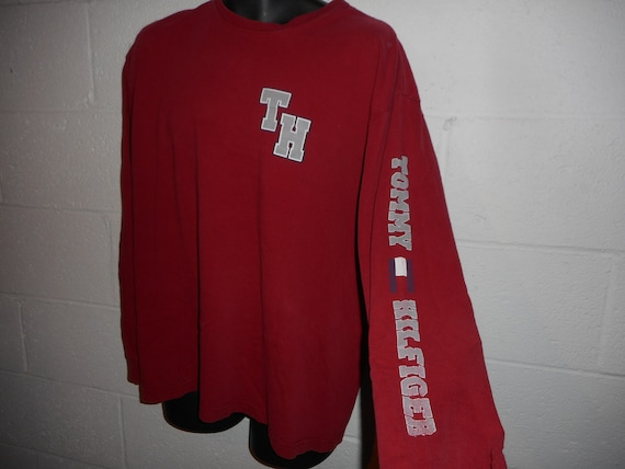 b0a6991e9 Vintage 90s Tommy Hilfiger Spellout Long Sleeve T-Shirt XL   Etsy