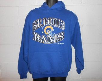 Vintage 90s 1995 LA St Louis Rams Hoodie Hooded Sweatshirt Large
