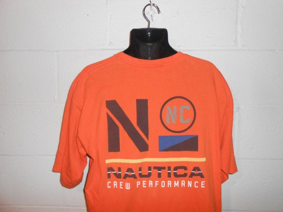 Vintage 90s Orange Nautica Crew Performance T-Shir