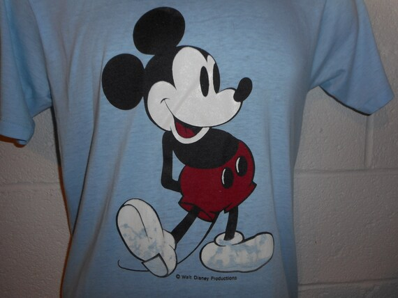 Vintage 70s Baby Blue Disney Mickey Mouse T-Shirt